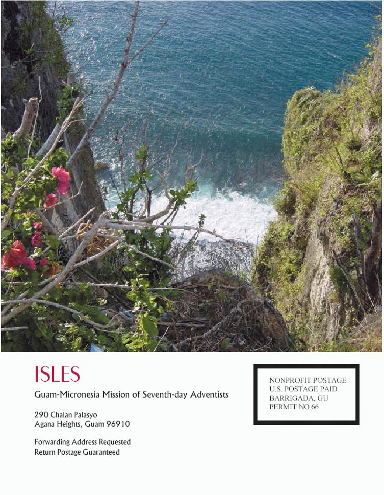 Isles, Spring 2003, Special Issue, The Resurrection of the (1908) Chamorro Bible, Back Cover Photo. Location: Two Lovers Point, Tumon Bay, Guam, USA; Photographer: Michael A. Bascom, Accountant (2001-2003), Guam Adventist Academy