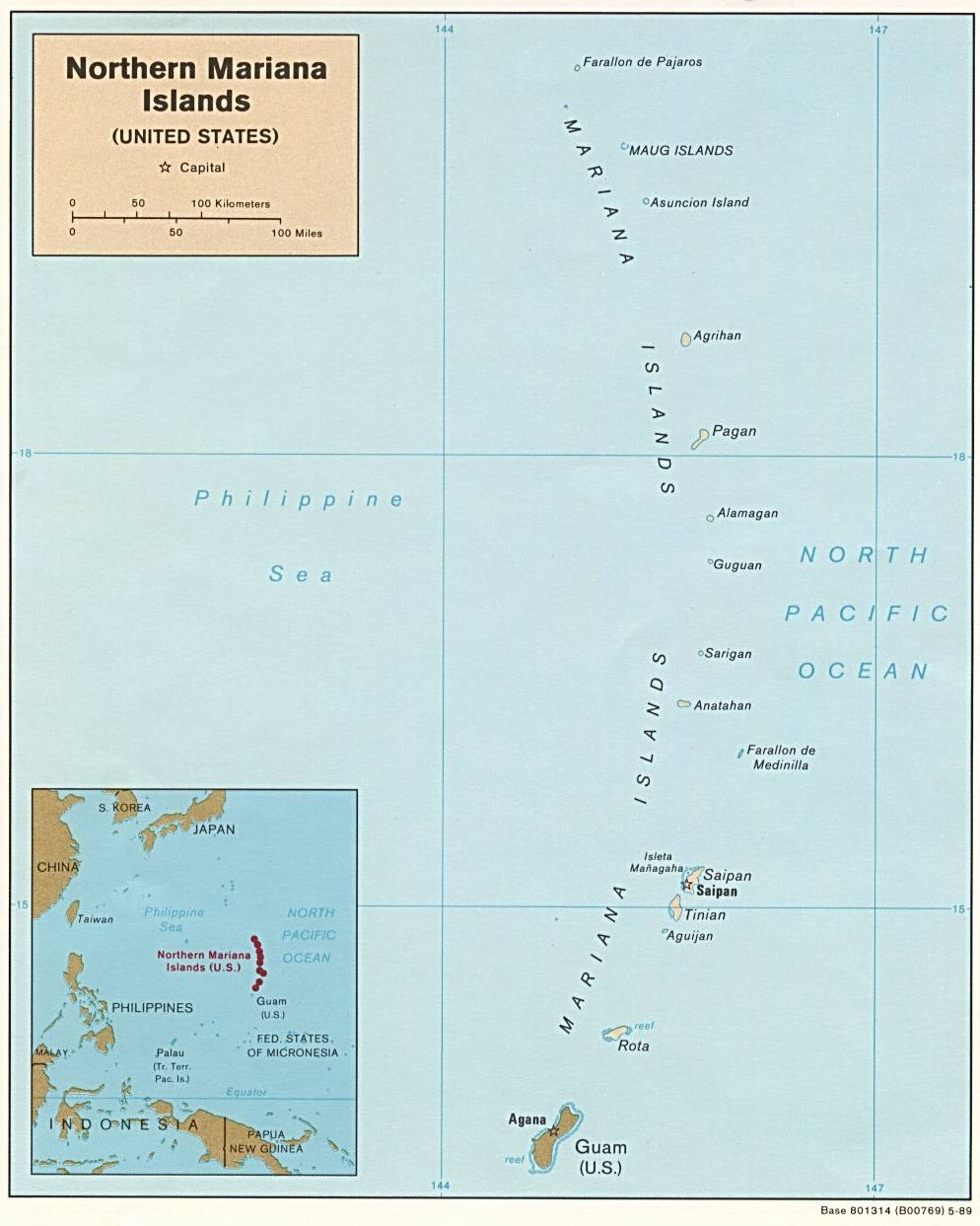 Map of the Commonwealth of the Northern Mariana Islands (Political), 1989. Courtesy of, The World Factbook (http://cia.gov/cia/publications/factbook) or CIA Maps and Publications Released to the Public (http://www.cia.gov/cia/publications/mapspub), Central Intelligence Agency (CIA), Government of the United States of America (USA); and the Perry-Castañeda Map Collection (http://www.lib.utexas.edu/maps), Perry-Castañeda Library, The General Libraries, University of Texas at Austin, Austin, Texas, USA.