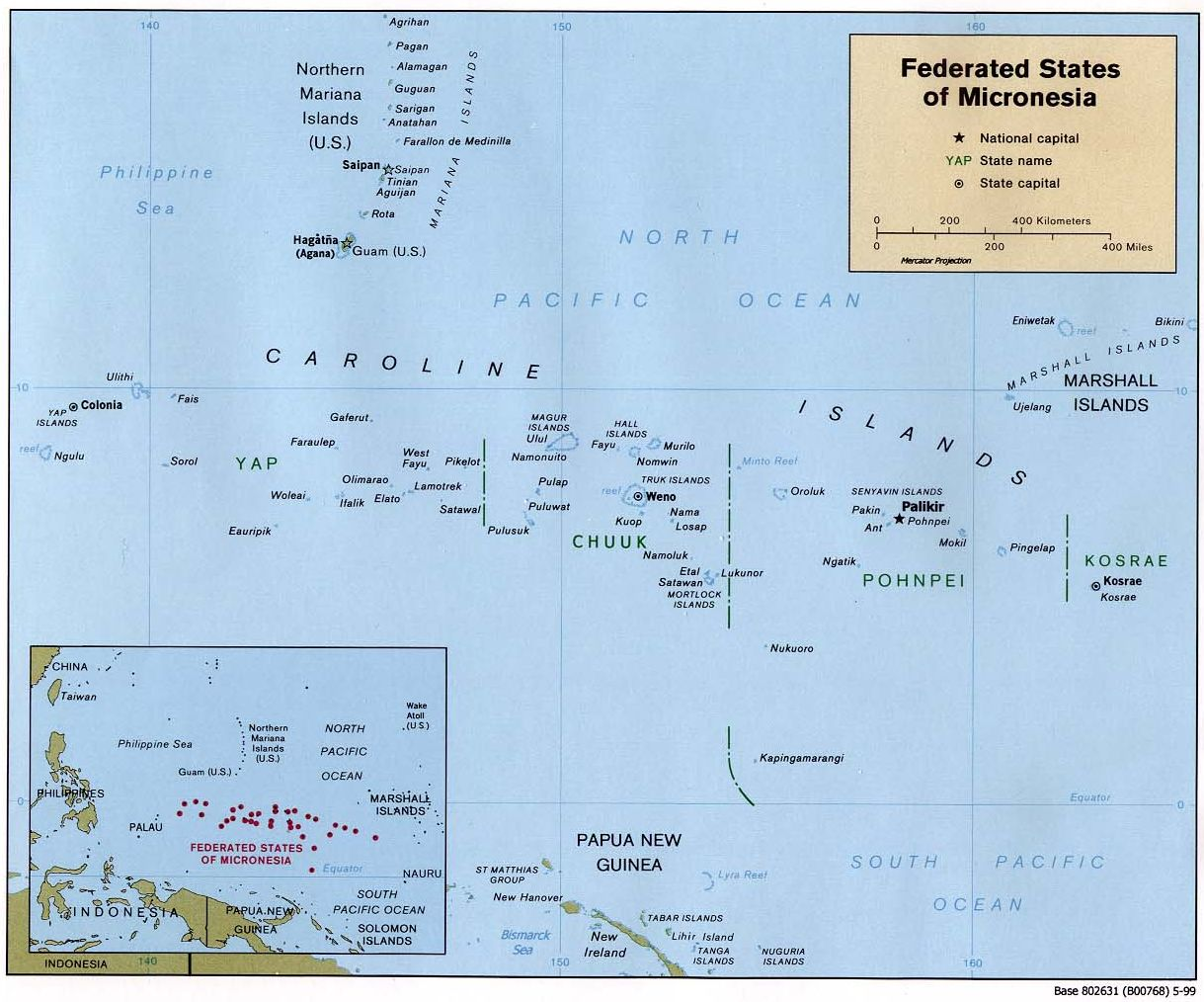 Map of the Federated States of Micronesia (Political), 1999. Courtesy of, The World Factbook (http://cia.gov/cia/publications/factbook) or CIA Maps and Publications Released to the Public (http://www.cia.gov/cia/publications/mapspub), Central Intelligence Agency (CIA), Government of the United States of America (USA); and the Perry-Casta�eda Map Collection (http://www.lib.utexas.edu/maps), Perry-Casta�eda Library, The General Libraries, University of Texas at Austin, Austin, Texas, USA.