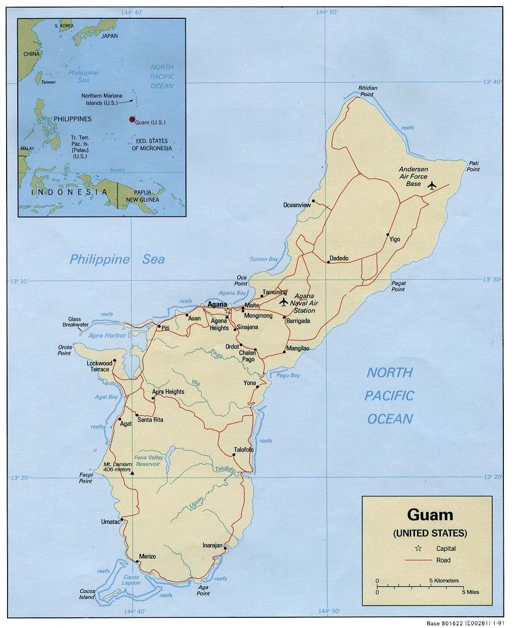 Map of Guåhan - Guam (Political), 1991. Courtesy of, The World Factbook (http://cia.gov/cia/publications/factbook) or CIA Maps and Publications Released to the Public (http://www.cia.gov/cia/publications/mapspub), Central Intelligence Agency (CIA), Government of the United States of America (USA); and the Perry-Casta�eda Map Collection (http://www.lib.utexas.edu/maps), Perry-Casta�eda Library, The General Libraries, University of Texas at Austin, Austin, Texas, USA.