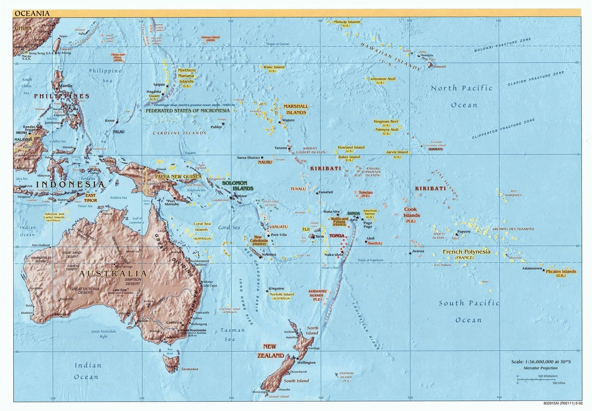 Map of Oceania (Reference), 2002. Courtesy of, The World Factbook (http://cia.gov/cia/publications/factbook) or CIA Maps and Publications Released to the Public (http://www.cia.gov/cia/publications/mapspub), Central Intelligence Agency (CIA), Government of the United States of America (USA); and the Perry-Castañeda Map Collection (http://www.lib.utexas.edu/maps), Perry-Castañeda Library, The General Libraries, University of Texas at Austin, Austin, Texas, USA.