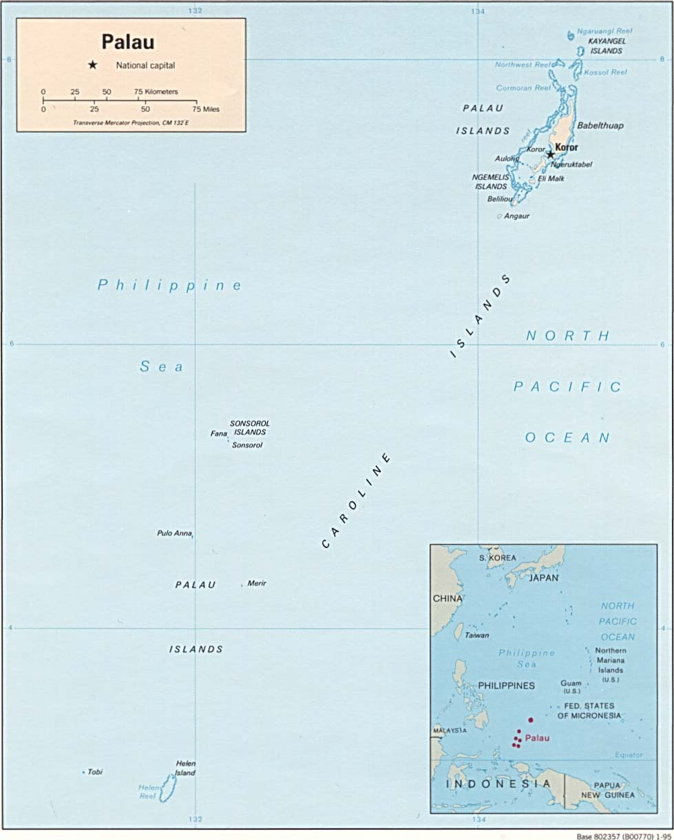 Map of Beluu er a Belau, the Republic of Pala