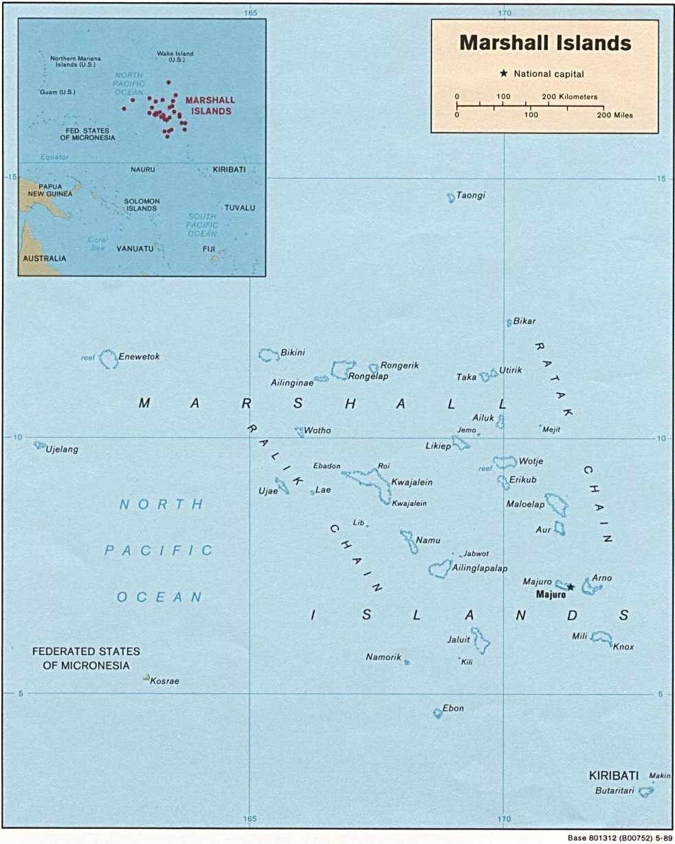Map of the Republic of the Marshall Islands (Politi