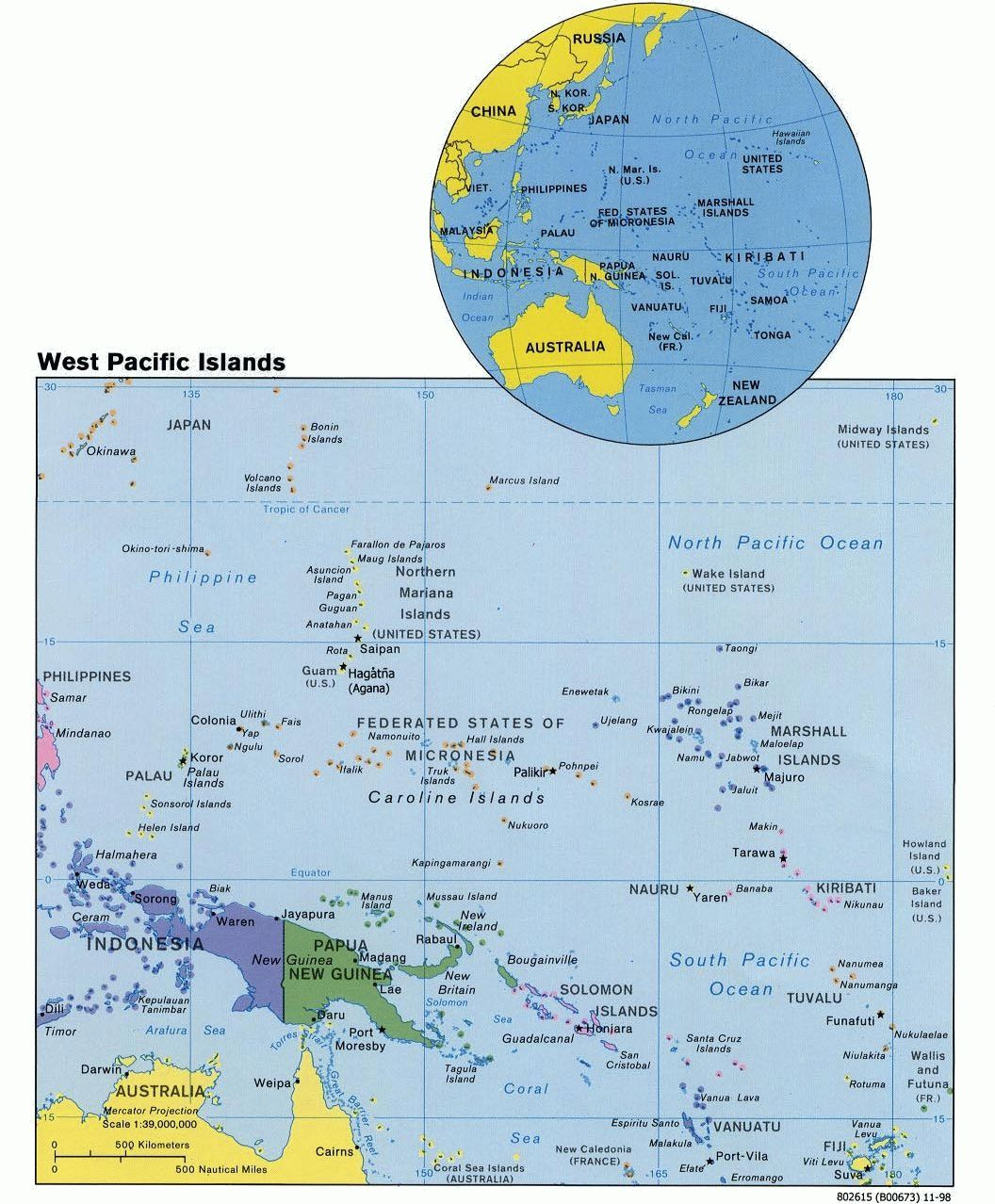 Map of the West Pacific Islands (Political), 1998. Courtesy of, The World