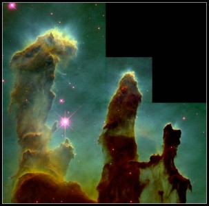 1. The Eagle Nebula. Photo Credit: April 1, 1995, Earth-orbiting Hubble Space Telescope (HST); Hubble Space Telescope Center, GRIN (http://grin.hq.nasa.gov) Database Number: GPN-2000-000987, National Aeronautics and Space Administration (NASA, http://www.nasa.gov), Government of the United States of America.
