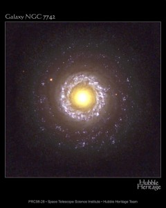 2. Galaxy NGC 7742. Photo Credit: November 7, 2002, Earth-orbiting Hubble Space Telescope (HST), Hubble Heritage Team (AURA/STScI/NASA); Goddard Space Flight Center (GSFC, http://www.gsfc.nasa.gov, GL-2002-001193), National Aeronautics and Space Administration (NASA, http://www.nasa.gov), Government of the United States of America (USA).