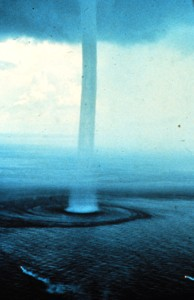 4. Waterspout, September 10, 1969, Florida Keys, State of Florida, USA. Photo Credit: Dr. Joseph Golden, National Oceanic and Atmospheric Administration Photo Library (http://www.photolib.noaa.gov), Historic NWS (National Weather Service) Collection, National Oceanic and Atmospheric Administration (NOAA, http://www.noaa.gov), United States Department of Commerce (http://www.commerce.gov), Government of the United States of America (USA).