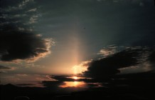 3. Sun Pillar, December 26, 1978 at 5:02 P.M., Asheville, State of North Carolina, USA. Photo Credit: Grant W. Goodge, National Oceanic and Atmospheric Administration Photo Library (http://www.photolib.noaa.gov), Historic NWS (National Weather Service) Collection, National Oceanic and Atmospheric Administration (NOAA, http://www.noaa.gov), United States Department of Commerce (http://www.commerce.gov), Government of the United States of America (USA).