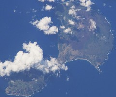 "2. Pagan, Commonwealth of the Northern Mariana Islands (USA). Earth Sciences and Image Analysis, NASA-Johnson Space Center. 8 December 2003. ""Astronaut Photography of Earth - Quick View."" <http://eol.jsc.nasa.gov/scripts/sseop/QuickView.pl?directory=ESC&ID=ISS006-E-42417>; National Aeronautics and Space Administration (NASA, http://www.nasa.gov), Government of the United States of America (USA)."