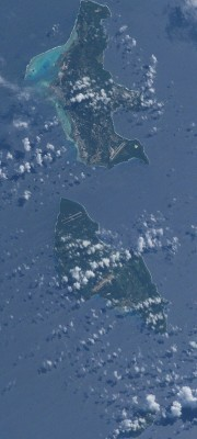 "6. Saipan, Commonwealth of the Northern Mariana Islands (USA), and Tinian, Commonwealth of the Northern Mariana Islands (USA). Earth Sciences and Image Analysis, NASA-Johnson Space Center. 8 December 2003. ""Astronaut Photography of Earth - Quick View."" <http://eol.jsc.nasa.gov/scripts/sseop/QuickView.pl?directory=ESC&ID=ISS007-E-5424>; National Aeronautics and Space Administration (NASA, http://www.nasa.gov), Government of the United States of America (USA)."