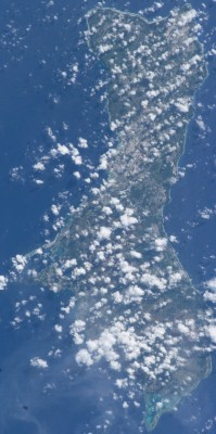 "8. Gu&aring;han (United States Territory of Guam). Earth Sciences and Image Analysis, NASA-Johnson Space Center. 8 December 2003. ""Astronaut Photography of Earth - Quick View."" <http://eol.jsc.nasa.gov/scripts/sseop/QuickView.pl?directory=ESC&ID=ISS007-E-5427>; National Aeronautics and Space Administration (NASA, http://www.nasa.gov), Government of the United States of America (USA)."