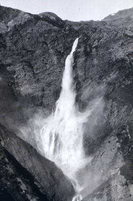 1. A Waterfall, Nuka Bay area, 1928; Kenai Peninsula, State of Alaska, USA. Photo Credit: Family of Rear Admiral Paul A. Smith, C&GS, National Oceanic and Atmospheric Administration Photo Library (http://www.photolib.noaa.gov), Coast & Geodetic Survey (C&GS) Historical Image Collection, National Oceanic and Atmospheric Administration (NOAA, http://www.noaa.gov), United States Department of Commerce (http://www.commerce.gov), Government of the United States of America (USA).