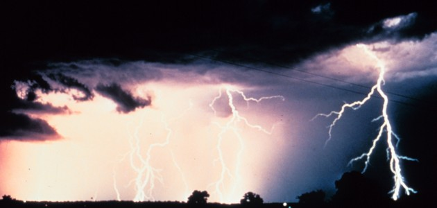 3. Multiple cloud-to-cloud and cloud-to-ground lightning strokes during a night-time thunderstorm. Photo Credit: OAR/ERL/National Severe Storms Laboratory (NSSL), National Oceanic and Atmospheric Administration Photo Library (http://www.photolib.noaa.gov), National Severe Storms Laboratory (NSSL) Collection, National Oceanic and Atmospheric Administration (NOAA, http://www.noaa.gov), United States Department of Commerce (http://www.commerce.gov), Government of the United States of America (USA).