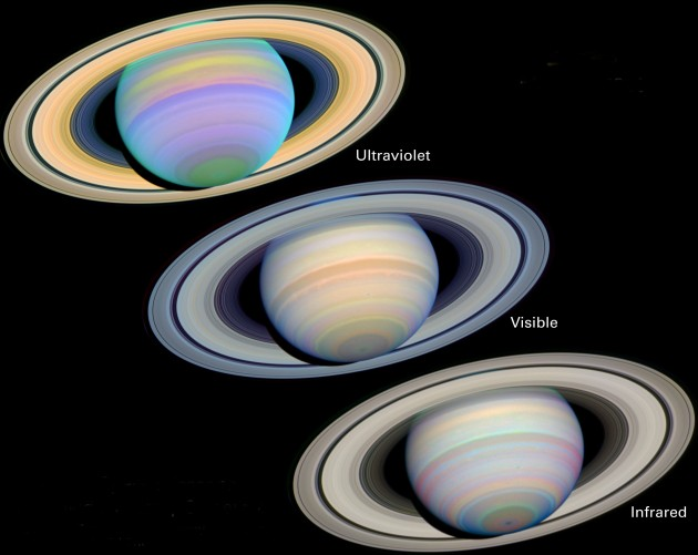 Saturn Viewed in Many Different Light Wavelengths - Ultraviolet (top), Visible (center), Infrared (bottom) - March 7, 2003. Photo Credit: Erich Karkoschka of the University of Arizona, State of Arizona, USA, The Slant on Saturn's Rings, March 7, 2003 (Release date: September 9, 2003), STScI-2003-23, NASA's Earth-orbiting Hubble Space Telescope; National Aeronautics and Space Administration (NASA, http://www.nasa.gov), Government of the United States of America (USA).