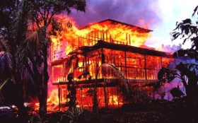 3. House on Fire Caused by Lava Flow in Kalapana, April 22, 1990. Kilauea Volcano, Hawai`i, State of Hawaii, USA. Photo Credit: J. D. Griggs, U.S. Photo Gallery of Hawaiian Volcanism (http://hvo.wr.usgs.gov/gallery), USGS Hawaiian Volcano Observatory (http://hvo.wr.usgs.gov), United States Geological Survey (USGS, http://www.usgs.gov), United States Department of the Interior (http://www.doi.gov), Government of the United States of America (USA).