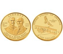 6. 2003 First Flight Centennial Gold Uncirculated Ten-Dollar Coin (USD $10), U.S. Legal Tender. Photo Credit: 2003 First Flight Centennial Gold Uncirculated Ten-Dollar Coin in Presentation Case (2E2) <http://catalog.usmint.gov/wcs/wcs_command/0,,cginame_a=ProductDisplay&querystring=prnbr;2E2+prmenbr;1000+cgnbr;4000+parentCategory;,00.html>, United States Legal Tender, United States Mint (http://www.USMint.com), United States Department of the Treasury (http://www.treas.gov), Government of the United States of America (USA).