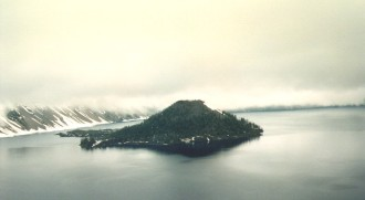 1. Thick Fog Between Wizard Island and the Caldera Wall, Summer of 1995. Crater Lake National Park, State of Oregon, USA. Photo Credit: Connie Hoong, Crater Lake Photos (http://CraterLake.wr.usgs.gov/photos.html), Crater Lake Data Clearinghouse (http://CraterLake.wr.usgs.gov), United States Geological Survey (USGS, http://www.usgs.gov), United States Department of the Interior (http://www.doi.gov), Government of the United States of America (USA).