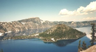 2. The Caldera Wall Clearly Visible From Wizard Island, Summer of 1995. Crater Lake National Park, State of Oregon, USA. Photo Credit: Connie Hoong, Crater Lake Photos (http://CraterLake.wr.usgs.gov/photos.html), Crater Lake Data Clearinghouse (http://CraterLake.wr.usgs.gov), United States Geological Survey (USGS, http://www.usgs.gov), United States Department of the Interior (http://www.doi.gov), Government of the United States of America (USA).