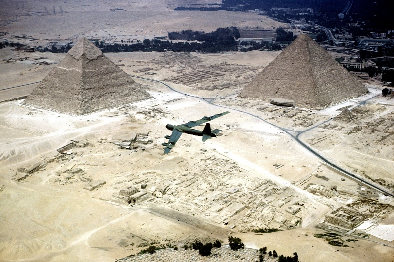 3. Another Aerial View of The Great Pyramids and a United States Air Force (USAF) B-52 Stratofortress, September 10, 1983, Jumhuriyat Misr al-Arabiyah - Arab Republic of Egypt. Photo Credit: Joint Service Audiovisual Team; United States Air Force (USAF, http://www.af.mil); Defense Visual Information Center (DVIC, http://www.DoDMedia.osd.mil, DF-ST-84-05994), United States Department of Defense (DoD, http://www.DefenseLink.mil or http://www.dod.gov), Government of the United States of America (USA).