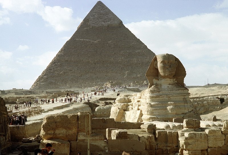 8. Another View of The Great Sphinx of Giza and One of The Great Pyramids, Jumhuriyat Misr al-Arabiyah - Arab Republic of Egypt. Photo Credit: Defense Visual Information Center (DVIC, http://www.DoDMedia.osd.mil,  DF-ST-99-05326), United States Department of Defense (DoD, http://www.DefenseLink.mil or http://www.dod.gov), Government of the United States of America (USA).