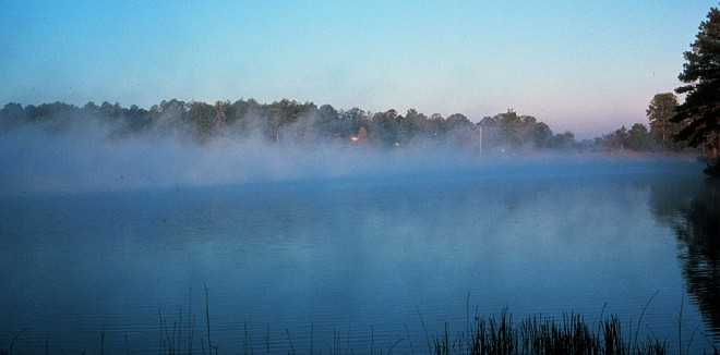Early Morning Fog on a Southern Lake. Photo Credit: NOAA Central Library, National Oceanic and Atmospheric Administration Photo Library (http://www.photolib.noaa.gov, wea00153), Historic NWS (National Weather Service) Collection, National Oceanic and Atmospheric Administration (NOAA, http://www.noaa.gov), United States Department of Commerce (http://www.commerce.gov), Government of the United States of America (USA).