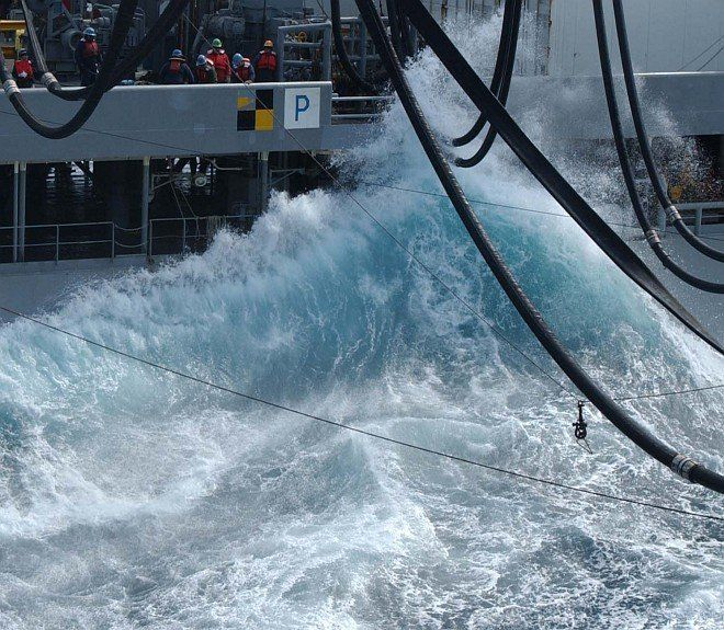 High Waves in the Western Pacific Ocean, March 10, 2003. Photo Credit: Photographer's Mate 2nd Class Carol Warden, Navy NewsStand - Eye on the Fleet Photo Gallery (http://www.news.navy.mil/view_photos.asp, 030310-N-5884W-062), United States Navy (USN, http://www.navy.mil), United States Department of Defense (DoD, http://www.DefenseLink.mil or http://www.dod.gov), Government of the United States of America (USA).