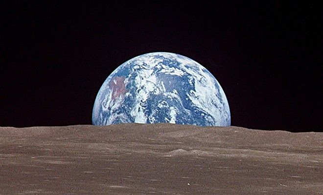 Earthrise, July 1969, NASA Apollo 11 Mission to Earth's Moon. Photo Credit: Lunar Limb, Earthrise. Sciences and Image Analysis, NASA-Johnson Space Center. 8 December 2003. 'Astronaut Photography of Earth - Quick View.' <http://eol.jsc.nasa.gov/scripts/sseop/QuickView.pl?directory=ISD&ID=AS11-44-6548>; National Aeronautics and Space Administration (NASA, http://www.nasa.gov), Government of the United States of America (USA).