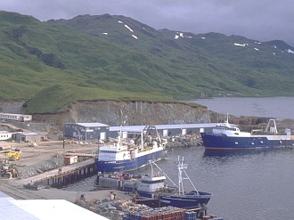 2. U. S. ENTERPRISE and the SEATTLE ENTERPRISE tied up at Dutch Harbor, Unalaska, State of Alaska, USA. Photo Credit: Alaska Fisheries Science Center, Marine Observer Program, National Oceanic and Atmospheric Administration Photo Library (http://www.photolib.noaa.gov, fish0330), Fisheries Collection, National Oceanic and Atmospheric Administration (NOAA, http://www.noaa.gov), United States Department of Commerce (http://www.commerce.gov), Government of the United States of America (USA).
