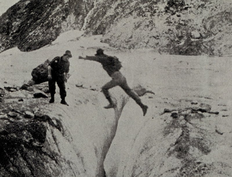 A Frightening Jump Over the Glacier's Crevasse, 1916. Bradford Glacier, State of Alaska, USA. Photo Credit: NOAA Central Library, National Oceanic and Atmospheric Administration Photo Library (http://www.photolib.noaa.gov, theb0721), Historic C&GS Collection, National Oceanic and Atmospheric Administration (NOAA, http://www.noaa.gov), United States Department of Commerce (http://www.commerce.gov), Government of the United States of America (USA).