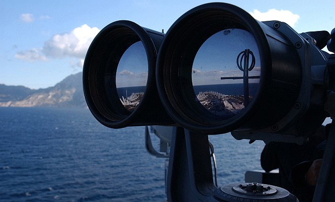 Using Powerful Binoculars the Sailor Keeps a Close Lookout, October 31, 2004, Straits of Gibraltar. Photo Credit: Photographer's Mate Airman Lilliana Lavende, Navy NewsStand - Eye on the Fleet Photo Gallery (http://www.news.navy.mil/view_photos.asp, 041031-N-2805L-243), United States Navy (USN, http://www.navy.mil), United States Department of Defense (DoD, http://www.DefenseLink.mil or http://www.dod.gov), Government of the United States of America (USA).