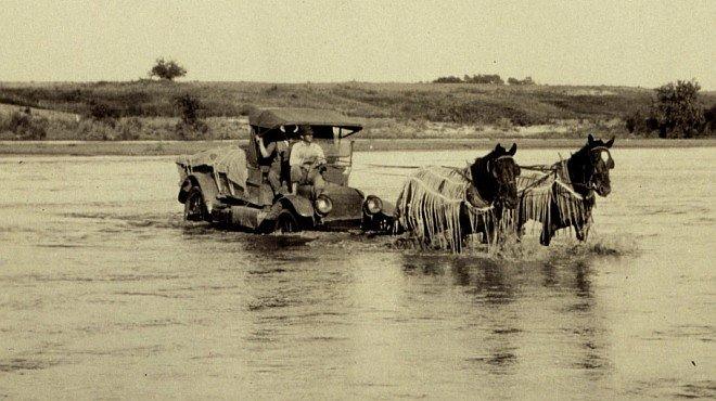 Horse Power Pulls the Automobile Carrying E. O. Heaton's Triangulation Party Across the Red River, 1921. Near Granite, State of Oklahoma, USA. Photo Credit: C&GS Season's Report Heaton 1921, NOAA Central Library, National Oceanic and Atmospheric Administration Photo Library (http://www.photolib.noaa.gov, theb0845), Historic C&GS Collection, National Oceanic and Atmospheric Administration (NOAA, http://www.noaa.gov), United States Department of Commerce (http://www.commerce.gov), Government of the United States of America (USA).