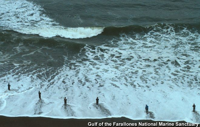 Six Fishermen Fishing in the Pacific Ocean (at Ocean Beach, San Francisco, California). Gulf of the Farallones National Marine Sanctuary, State of California, USA. Photo Credit: Photo Gallery - Gulf of the Farallones - People in the Sanctuary (http://sanctuaries.noaa.gov/pgallery/pgfarallones/human/gof_human.html, 'Fishermen stand in the surf at Ocean Beach in San Francisco to bring home the bounty.'), Gulf of the Farallones National Marine Sanctuary (http://farallones.noaa.gov), NOAA's National Ocean Service (NOS, http://www.nos.noaa.gov), National Oceanic and Atmospheric Administration (NOAA, http://www.noaa.gov), United States Department of Commerce (http://www.commerce.gov), Government of the United States of America (USA).