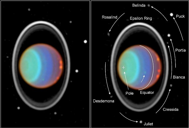 Near-Infrared Photographs of the Planet Uranus Surrounded by Rings and Many Moons, July 28,1997. Photo Credit: Hubble Tracks Clouds On Uranus, July 28,1997, STScI-1997-36, NASA's Earth-orbiting Hubble Space Telescope; Erich Karkoschka (University of Arizona, USA, http://www.arizona.edu), National Aeronautics and Space Administration (NASA, http://www.nasa.gov), Government of the United States of America (USA).