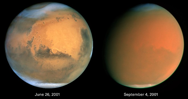 On June 26, 2001 (left) two local storms brew in different locations on the planet Mars (oval at the 4 o'clock position and at the northern polar cap). By September 4, 2001 (right) the storms are one spectacular global dust storm, engulfing and raging across the entire planet. Photo Credit: Scientists Track 'Perfect Storm' on Mars, June 26, 2001 and September 4, 2001 (Released: October 11, 2001), STScI-2001-31, NASA's Earth-orbiting Hubble Space Telescope; James Bell (Cornell University, USA, http://www.cornell.edu), Michael Wolff (Space Science Institute, http://ciclops.org), The Hubble Heritage Team (AURA/STScI, http://HubbleSite.org), National Aeronautics and Space Administration (NASA, http://www.nasa.gov), Government of the United States of America (USA).