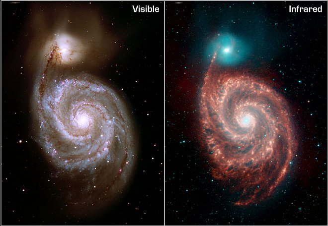 The Gorgeous Whirlpool Galaxy (named M51, Rosse's Galaxy, or NGC 5194) and Its Companion Galaxy (named M52 or NGC 5195) Photographed in Visible Light (left, Kitt Peak National Observatory 2.1m Telescope) and the Invisible Infrared Light (right, Spitzer Space Telescope). Photo Credit: First Peek at Spitzer's Legacy: Mysterious Whirlpool Galaxy, ssc2004-19, NASA's Spitzer Space Telescope (http://www.spitzer.caltech.edu); JPL-Caltech, R. Kennicutt (University of Arizona, USA), DSS, National Aeronautics and Space Administration (NASA, http://www.nasa.gov), Government of the United States of America (USA).