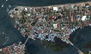 "5. Banda Aceh Shoreline Before the Tsunami Struck, DigitalGlobe Satellite Photo, June 23, 2004, Republik Indonesia. Photo Credit: DigitalGlobe (http://DigitalGlobe.com), Tsunami Media Gallery, QuickBird Images of Tsunami Sites (http://DigitalGlobe.com/tsunami_gallery.html), Indonesia, June 23, 2004, ""Banda Aceh Shore (Before Tsunami)"". DigitalGlobe Imagery Analysis: ""Tsunami Aftermath: Banda Aceh, Indonesia; QuickBird Imagery, 28 December, 2004"" <http://DigitalGlobe.com/images/tsunami/Banda_Aceh_Tsunami_Damage.pdf>."