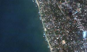 7. Kalutara Beach Before the Tsunami, DigitalGlobe Satellite Photo, January 1, 2004, Democratic Socialist Republic of Sri Lanka. Photo Credit: DigitalGlobe (http://DigitalGlobe.com), Tsunami Media Gallery, QuickBird Images of Tsunami Sites (http://DigitalGlobe.com/tsunami_gallery.html), Sri Lanka, January 1, 2004, 'Kalutara Beach Detail (Before Tsunami)'. DigitalGlobe Imagery Analysis: Tsunami Impact on Sri Lanka Tsunami Impact on Sri Lanka: DigitalGlobe's QuickBird Imagery, 26 December, 2004 <http://digitalglobe.com/images/tsunami/Sri_Lanka_Tsunami_Damage.pdf>.