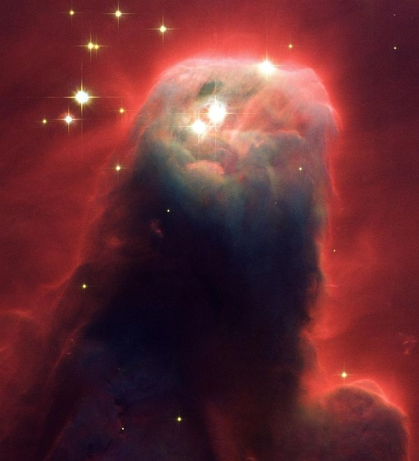 The Cone Nebula (NGC 2264), a Monstrous Pillar of Cold Gas and Dust. Photo Credit: Monstrous Star-Forming Pillar of Gas and Dust, April 2, 2002 (Released: April 30, 2002), STScI-2002-11, NASA's Earth-orbiting Hubble Space Telescope (http://HubbleSite.org); H. Ford (JHU), G. Illingworth (UCSC/LO), M.Clampin (STScI), G. Hartig (STScI), the Advanced Camera for Surveys (ACS) Science Team (names listed below), ESA (http://www.SpaceTelescope.org), and National Aeronautics and Space Administration (NASA, http://www.nasa.gov), Government of the United States of America (USA). The ACS Science Team: H. Ford, G. Illingworth, M. Clampin, G. Hartig, T. Allen, K. Anderson, F. Bartko, N. Benitez, J. Blakeslee, R. Bouwens, T. Broadhurst, R. Brown, C. Burrows, D. Campbell, E. Cheng, N. Cross, P. Feldman, M. Franx, D. Golimowski, C. Gronwall, R. Kimble, J. Krist, M. Lesser, D. Magee, A. Martel, W. J. McCann, G. Meurer, G. Miley, M. Postman, P. Rosati, M. Sirianni, W. Sparks, P. Sullivan, H. Tran, Z. Tsvetanov, R. White, and R. Woodruff.