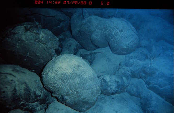 Pillow Lava Rocks Formed From the Hot Magma Coming From Under the Ocean's Floor, July 20, 1988. State of Hawaii, USA. Photo Credit: OAR/National Undersea Research Program (NURP), National Oceanic and Atmospheric Administration Photo Library (http://www.photolib.noaa.gov, nur05018), National Undersearch Research Program (NURP) Collection, National Oceanic and Atmospheric Administration (NOAA, http://www.noaa.gov), United States Department of Commerce (http://www.commerce.gov), Government of the United States of America (USA).