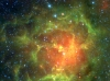 Spectacular Infrared View of the Trifid Nebula - Messier 20 (M20) Located in the Constellation Sagittarius, 5,400 Light-Years Away From Earth. Photo Credit: New Views of a Familiar Beauty, ssc2005-02, Release date: January 12, 2005, NASA's Spitzer Space Telescope (http://www.spitzer.caltech.edu); NASA/JPL-Caltech/J. Rho (SSC/Caltech), National Aeronautics and Space Administration (NASA, http://www.nasa.gov), Government of the United States of America (USA).