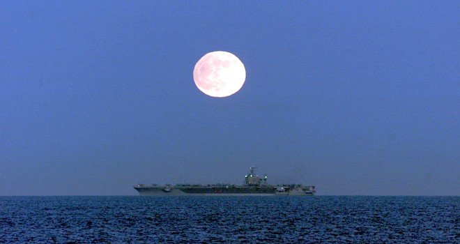 The Full Moon of November 20, 2002 Illuminates the Nuclear Aircraft Carrier USS Carl Vinson. Off the Southern Coast of the State of California, USA. Photo Credit: Electronics Warfare Technician 2nd Class Christopher Ware, Navy NewsStand - Eye on the Fleet Photo Gallery (http://www.news.navy.mil/view_photos.asp, 021120-N-9297W-001), United States Navy (USN, http://www.navy.mil), United States Department of Defense (DoD, http://www.DefenseLink.mil or http://www.dod.gov), Government of the United States of America (USA).