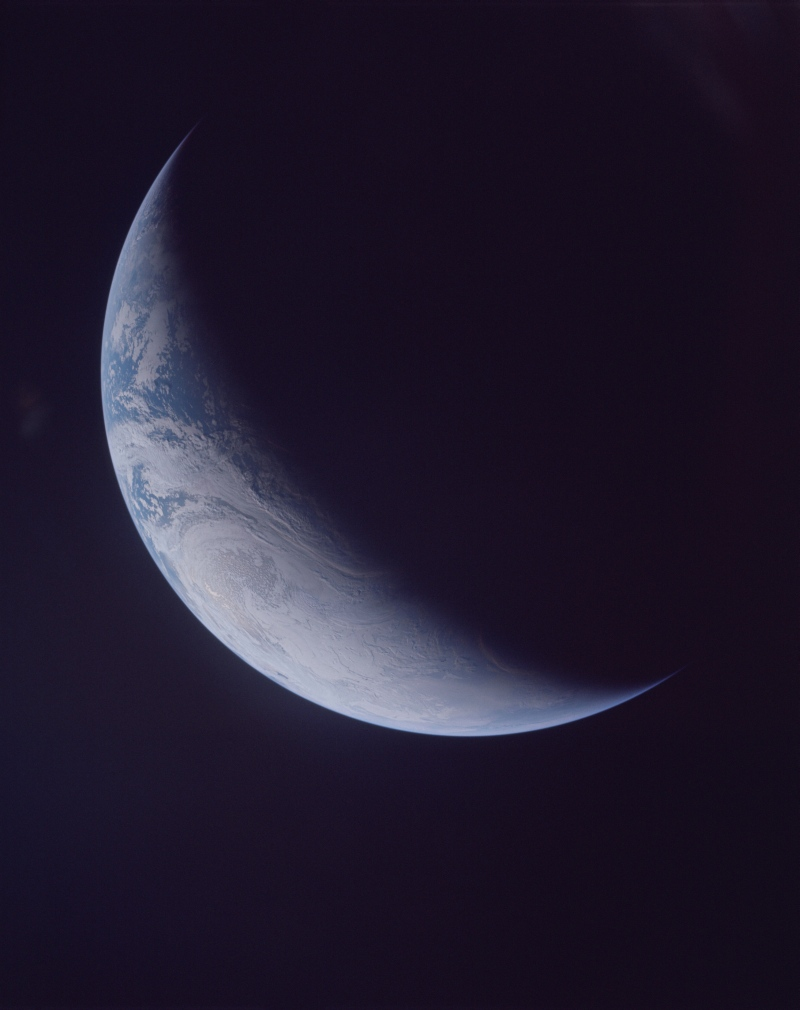 16. Beautiful Crescent Earth, November 9, 1967, As Seen By NASA's Unmanned Apollo 4 (20) Mission (Spacecraft 017/Saturn-V AS-501). Photo Credit: NASA Apollo IV Mission: Unmanned Apollo 4 (Spacecraft 017/Saturn 501); AS04-1-500, Crescent Earth; Image Science and Analysis Laboratory, NASA-Johnson Space Center. 'Astronaut Photography of Earth - Display Record.' <http://eol.jsc.nasa.gov/scripts/sseop/photo.pl?mission=AS04&roll=1&frame=500>; National Aeronautics and Space Administration (NASA, http://www.nasa.gov), Government of the United States of America (USA).