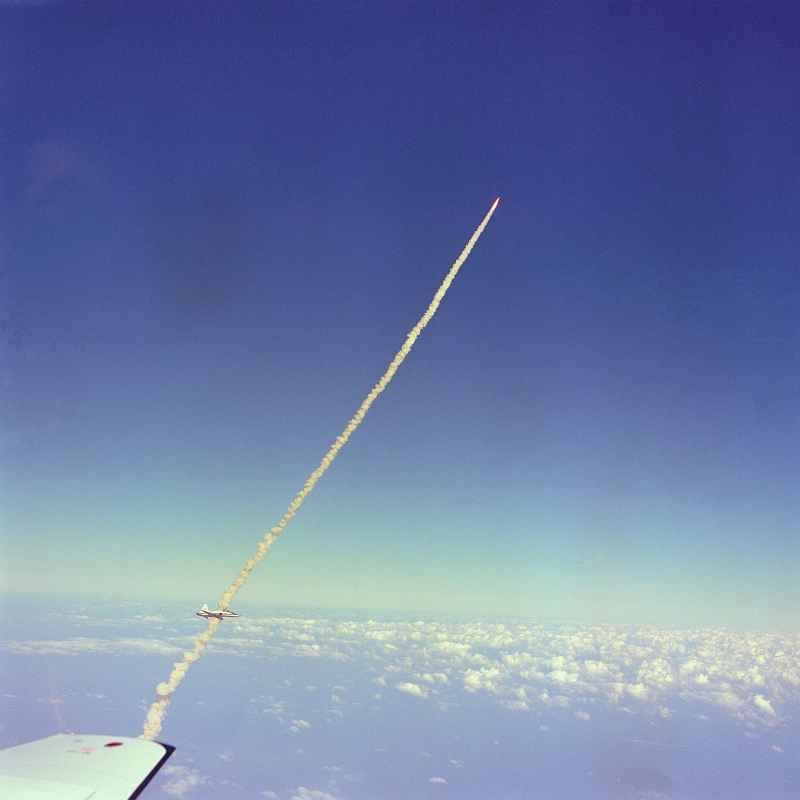 15. Another Spectacular Aerial View of the Liftoff of Space Shuttle Columbia (STS-2) on November 12, 1981, As Seen From NASA's T-38 Talon Supersonic Trainer Jet. NASA Kennedy Space Center, State of Florida, USA. Photo Credit: NASA Astronaut Dr. Kathryn D. Sullivan, Ph.D.; Space Shuttle Columbia (STS-2), T-38 Talon Supersonic Trainer Jet, John F. Kennedy Space Center, November 12, 1981, GRIN (http://grin.hq.nasa.gov) Database Number: GPN-2000-001359, National Aeronautics and Space Administration (NASA, http://www.nasa.gov), Government of the United States of America.