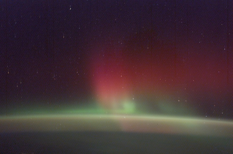 2. Beautiful Red and Green Aurora Borealis (Northern Lights), February 2, 2003 As Seen From the International Space Station (Expedition 6). Photo Credit: NASA; ISS006-E-21591, Red and Green Aurora Borealis, Stars, International Space Station (Expedition Six); Image Science and Analysis Laboratory, NASA-Johnson Space Center. 'Astronaut Photography of Earth - Display Record.' <http://eol.jsc.nasa.gov/scripts/sseop/photo.pl?mission=ISS006&roll=E&frame=21591>; National Aeronautics and Space Administration (NASA, http://www.nasa.gov), Government of the United States of America (USA).
