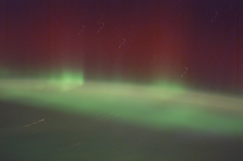8. Green and Red Aurora Borealis, February 2, 2003 As Seen From the International Space Station (Expedition 6). NASA; ISS006-E-21593, Green Aurora Borealis, International Space Station (Expedition Six); Image Science and Analysis Laboratory, NASA-Johnson Space Center. 'Astronaut Photography of Earth - Display Record.' <http://eol.jsc.nasa.gov/scripts/sseop/photo.pl?mission=ISS006&roll=E&frame=21593>; National Aeronautics and Space Administration (NASA, http://www.nasa.gov), Government of the United States of America (USA).
