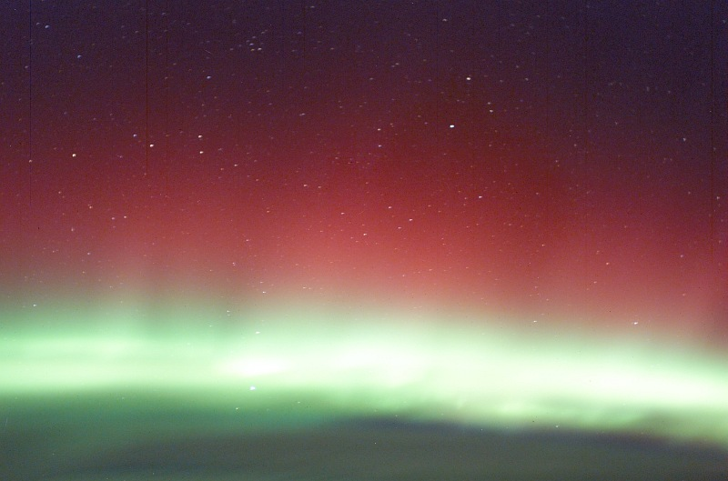3. Red Aurora Borealis and Green Aurora Borealis (Northern Lights), March 30, 2003 As Seen From the International Space Station (Expedition 6). Photo Credit: NASA; ISS006-E-41615, Red and Green Aurora Borealis, Stars, International Space Station (Expedition Six); Image Science and Analysis Laboratory, NASA-Johnson Space Center. 'Astronaut Photography of Earth - Display Record.' <http://eol.jsc.nasa.gov/scripts/sseop/photo.pl?mission=ISS006&roll=E&frame=41615>; National Aeronautics and Space Administration (NASA, http://www.nasa.gov), Government of the United States of America (USA).