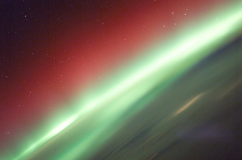 5. Red and Green Aurora Borealis (Northern Lights), March 30, 2003 As Seen From the International Space Station (Expedition 6). Photo Credit: NASA; ISS006-E-41627, Red and Green Aurora Borealis, Stars, International Space Station (Expedition Six); Image Science and Analysis Laboratory, NASA-Johnson Space Center. 'Astronaut Photography of Earth - Display Record.' <http://eol.jsc.nasa.gov/scripts/sseop/photo.pl?mission=ISS006&roll=E&frame=41627>; National Aeronautics and Space Administration (NASA, http://www.nasa.gov), Government of the United States of America (USA).