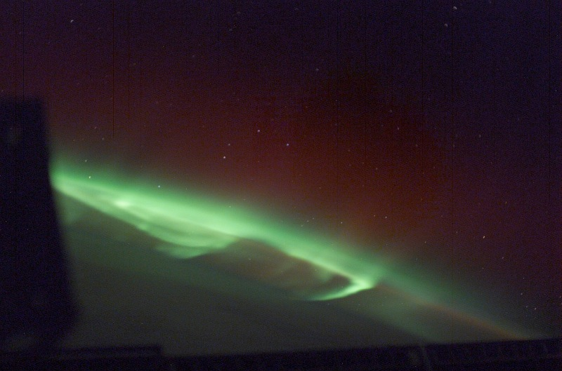 6. Beautiful Green and Slightly Red Aurora Australis (Southern Lights), April 24, 2003 As Seen From the International Space Station (Expedition 6). Photo Credit: NASA; ISS006-E-48424, Red and Green Aurora Australis, Stars, International Space Station (Expedition Six); Image Science and Analysis Laboratory, NASA-Johnson Space Center. 'Astronaut Photography of Earth - Display Record.' <http://eol.jsc.nasa.gov/scripts/sseop/photo.pl?mission=ISS006&roll=E&frame=48424>; National Aeronautics and Space Administration (NASA, http://www.nasa.gov), Government of the United States of America (USA).