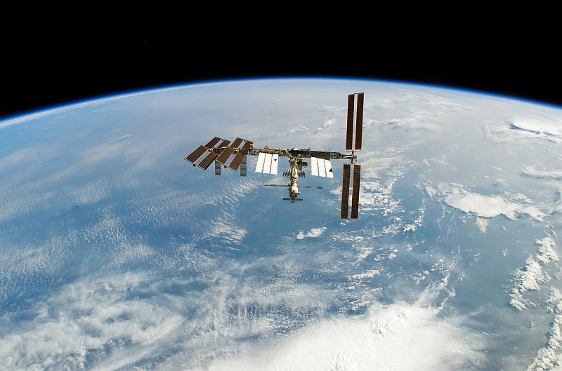 17. International Space Station Orbits Over Cloudy Earth and Earth's Blue Waters, February 18, 2008, As Seen From Space Shuttle Atlantis (STS-122). Photo Credit: NASA; STS-122 Shuttle Mission Imagery (http://spaceflight.nasa.gov/gallery/images/shuttle/sts-122/ndxpage1.html): S122-E-010947 (http://spaceflight.nasa.gov/gallery/images/shuttle/sts-122/html/s122e010947.html), NASA Human Space Flight (http://spaceflight.nasa.gov), National Aeronautics and Space Administration (NASA, http://www.nasa.gov), Government of the United States of America.