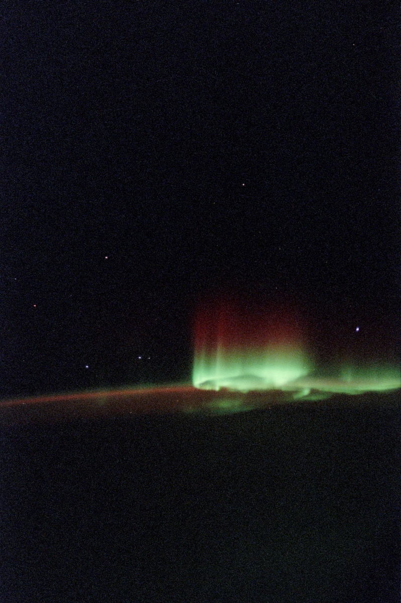 19. Aurora Australis or Southern Lights, June 2002, As Seen From Space Shuttle Endeavour (STS-111) While Over South of Australia. Photo Credit: NASA; STS-111 Shuttle Mission Imagery (http://spaceflight.nasa.gov/gallery/images/shuttle/sts-111/ndxpage1.html): STS111-362-036 (http://spaceflight.nasa.gov/gallery/images/shuttle/sts-111/html/sts111-362-036.html), NASA Human Space Flight (http://spaceflight.nasa.gov), National Aeronautics and Space Administration (NASA, http://www.nasa.gov), Government of the United States of America.